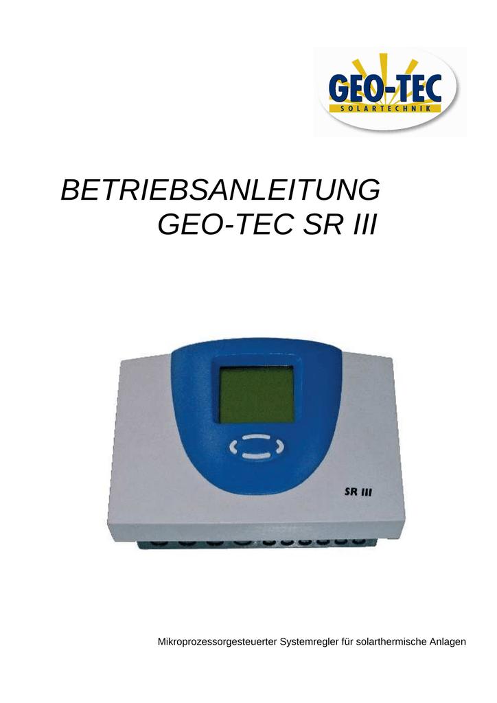 BETRIEBSANLEITUNG GEO-TEC SR III   manualzz.com