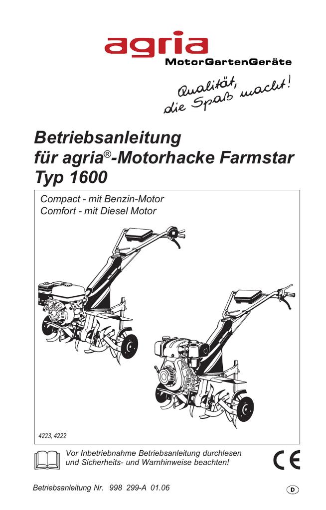 Betreibsanleitung Agria 1600 Manualzz