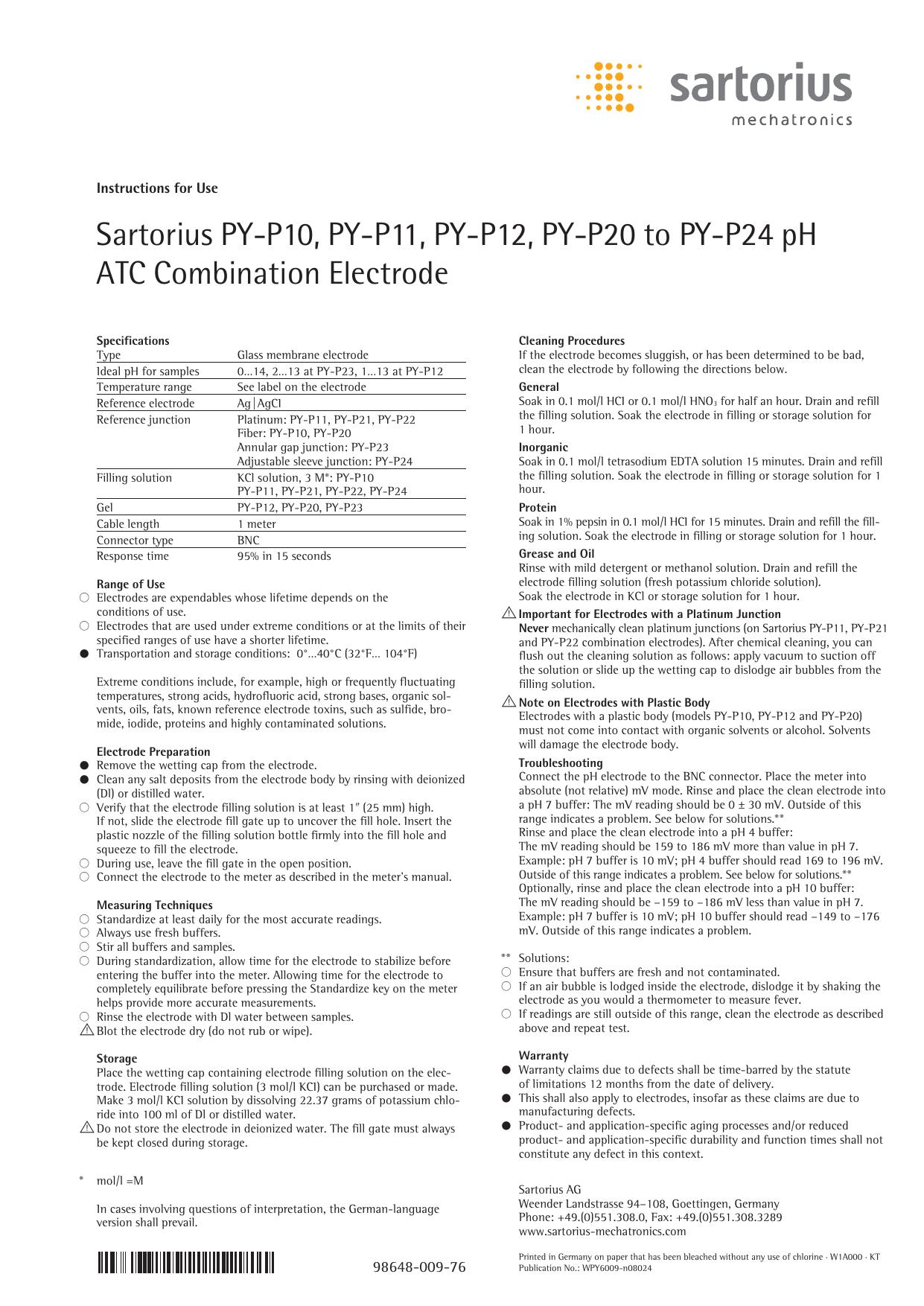 -5/°C to 100/°C Temperature Range Sartorius PY-P24 ATC Combination Electrode without Built In Temperature Sensor Plastic Body 0 to 14 pH Range