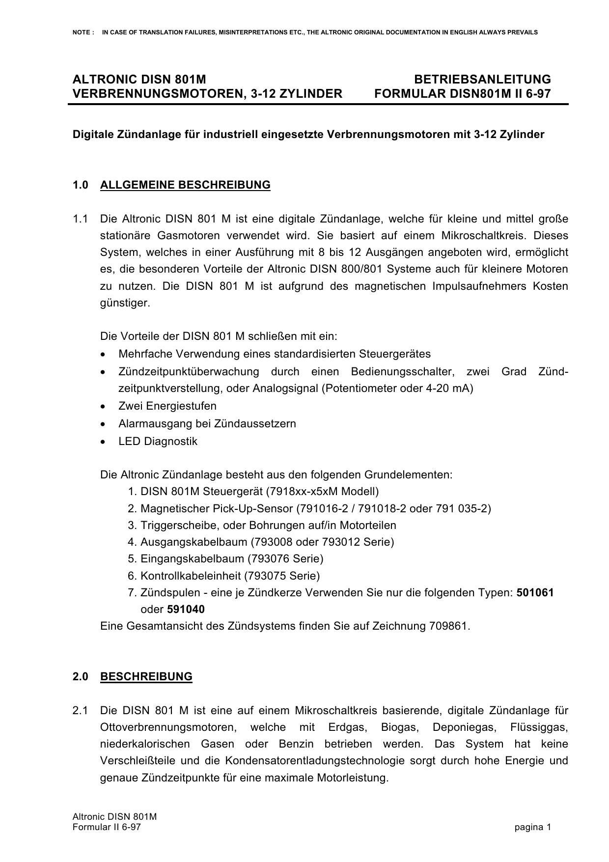 Altronic DISN 801 M - BHKW | manualzz.com