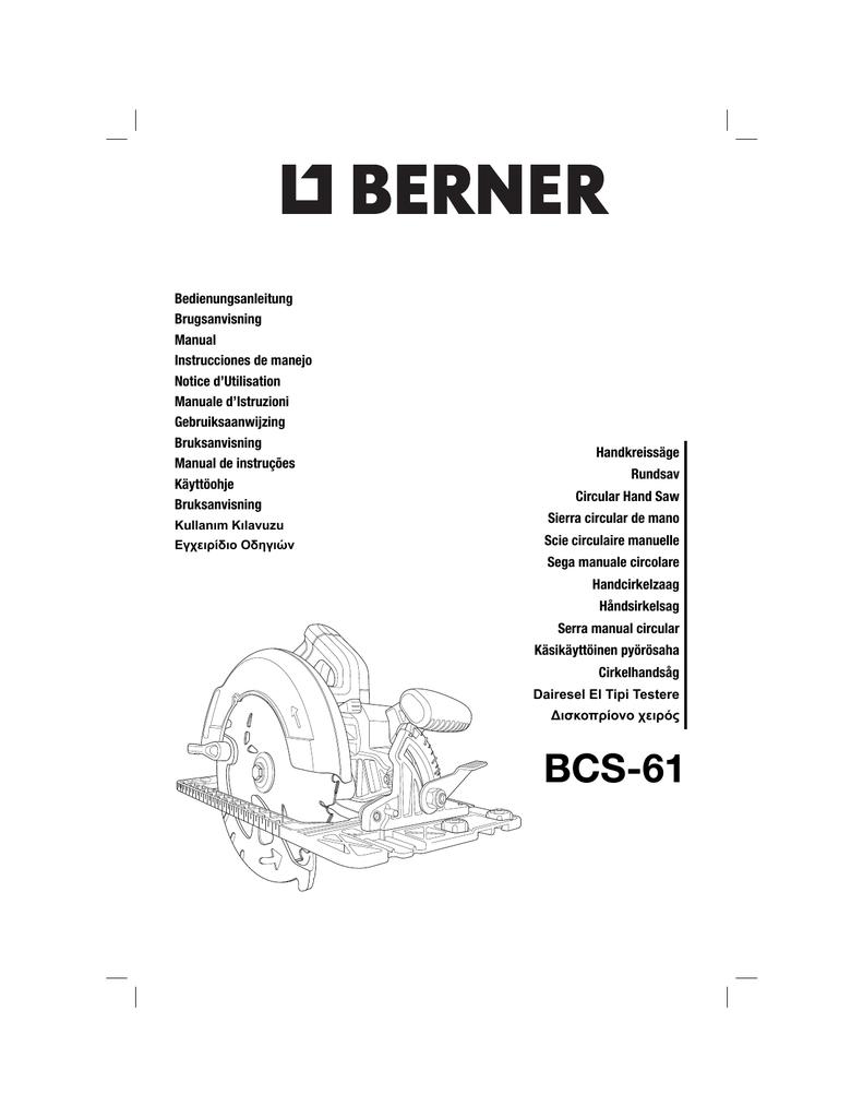 N287149 Man Circ Saws Berner Bcs 61 Indd Manualzz