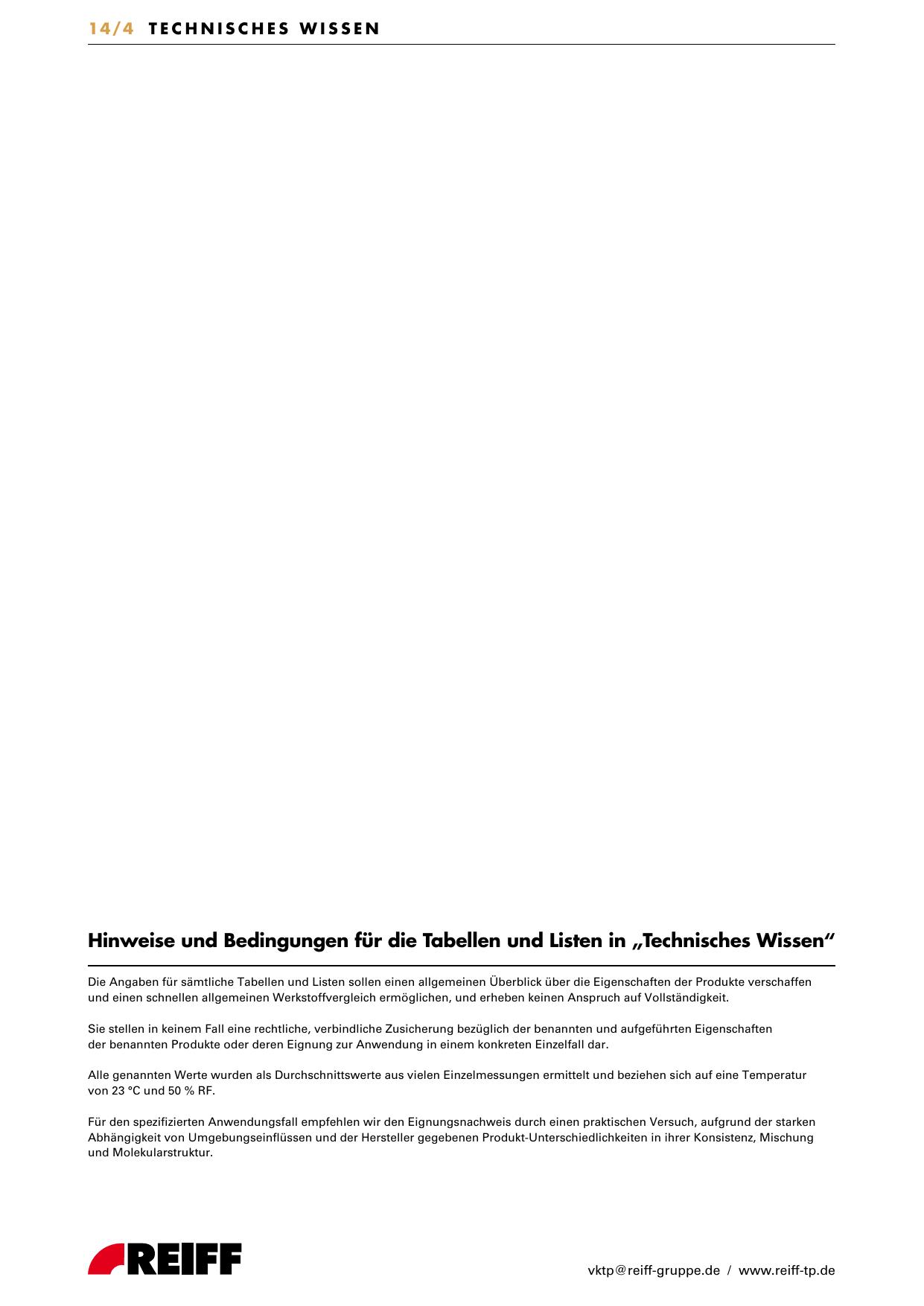 Technisches Wissen - bei REIFF Technische Produkte | manualzz.com