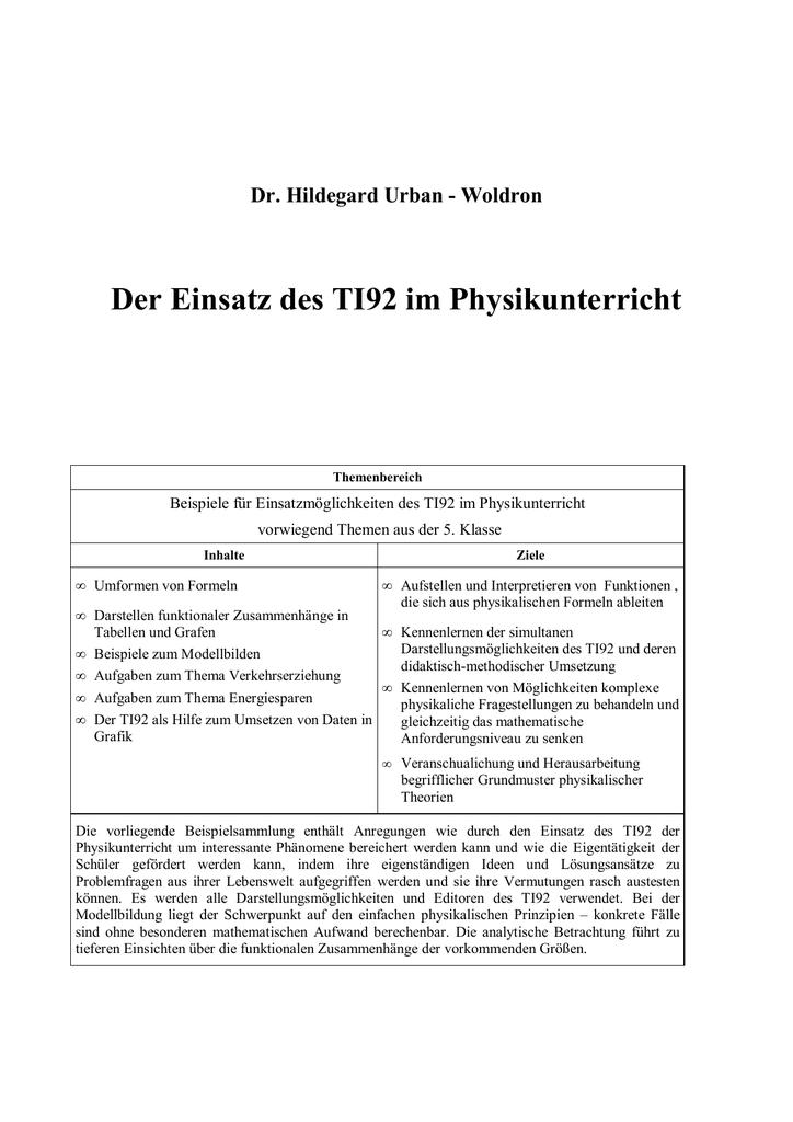 Der Einsatz des TI92 im Physikunterricht   manualzz.com