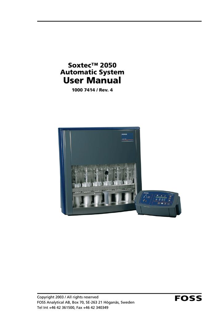 soxtec 2050 user manual 10007414 v4 0 manualzz com rh manualzz com foss soxtec 2050 manual