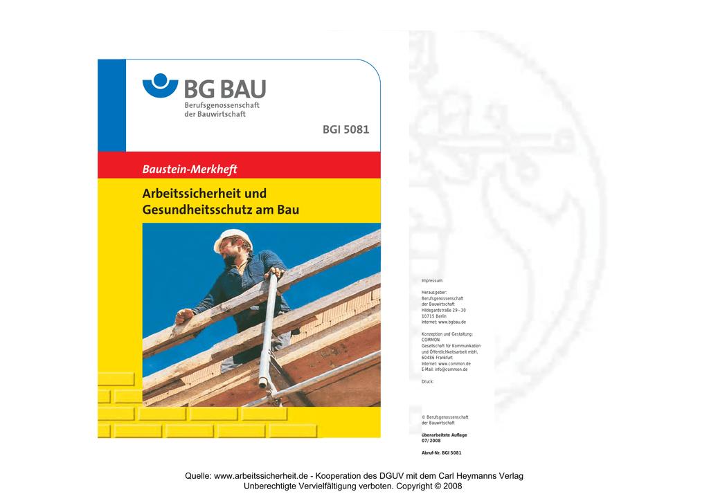 BGI 5081 (7.2008) Arbeitssicherheit und Ges.Bau - Leitern