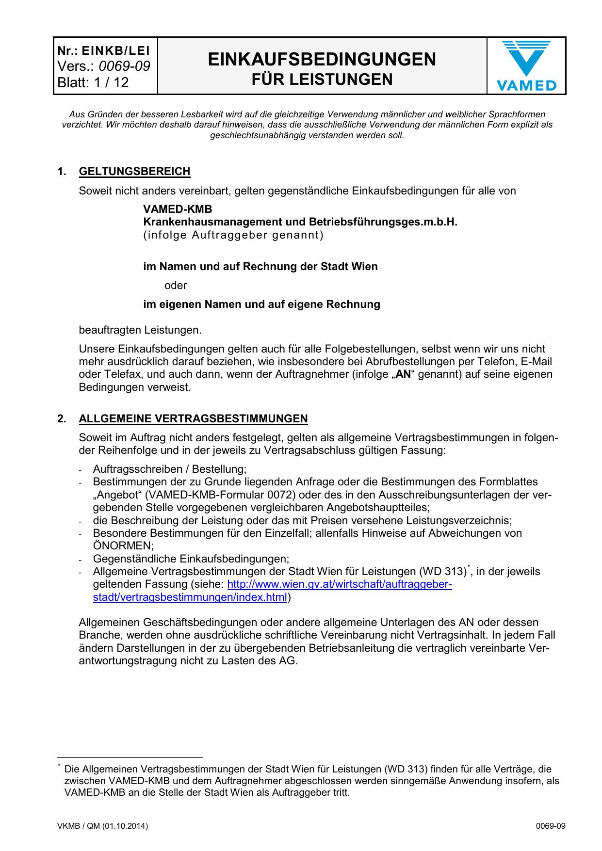 Einkaufsbedingungen für Leistungen (Version 0069-09) | manualzz.com