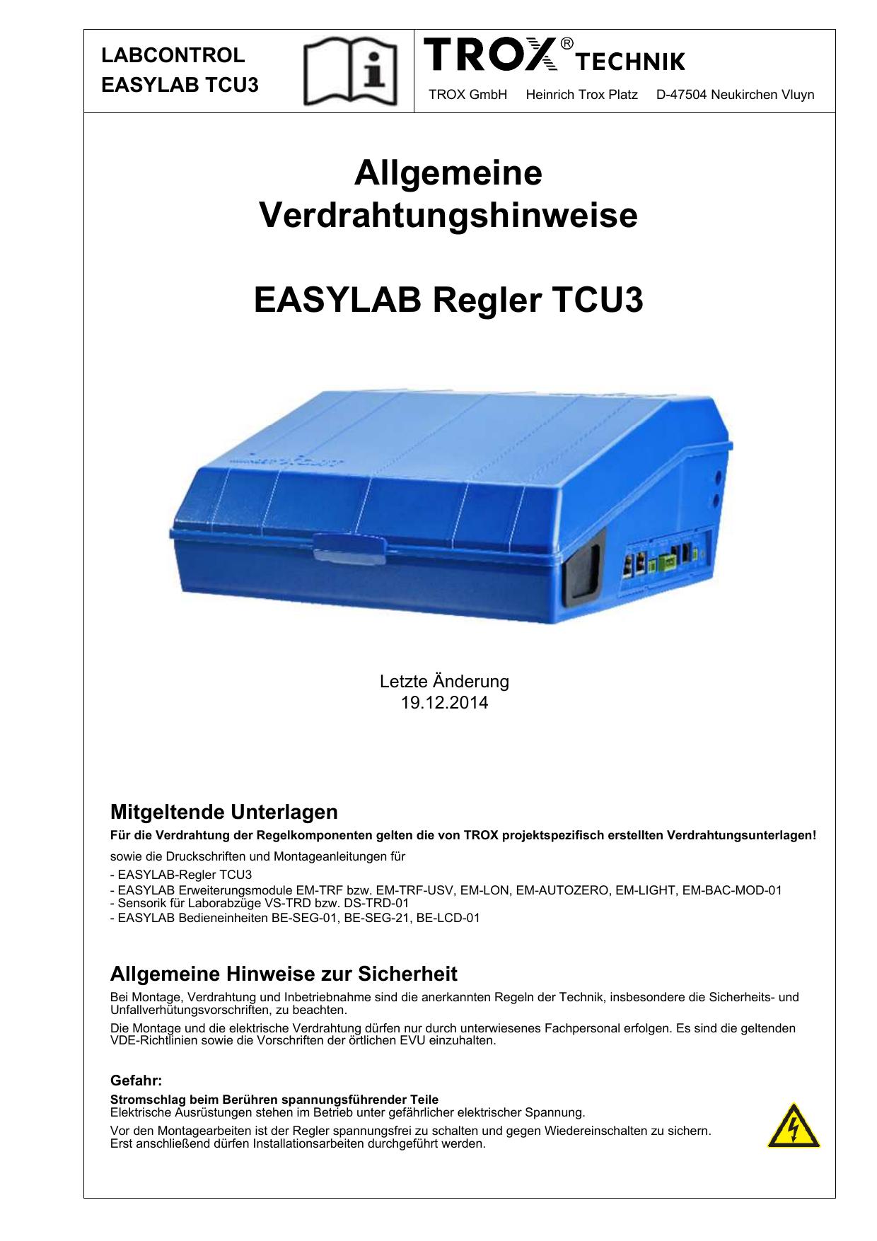 Allgemeine Verdrahtungshinweise EASYLAB TCU3 | manualzz.com