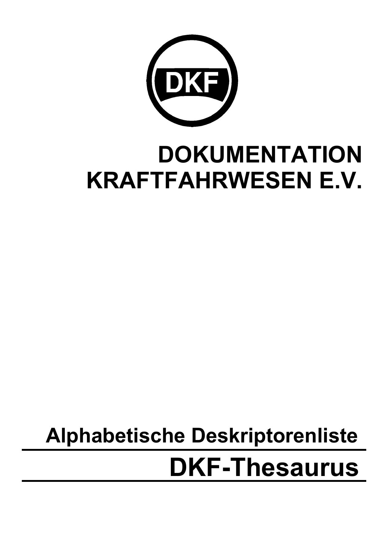 DKF-Thesaurus - Dokumentation Kraftfahrwesen | manualzz.com
