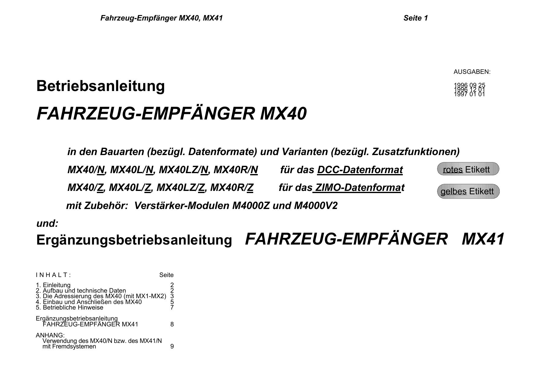 MX40 Fahrzeugempfänger   manualzz.com
