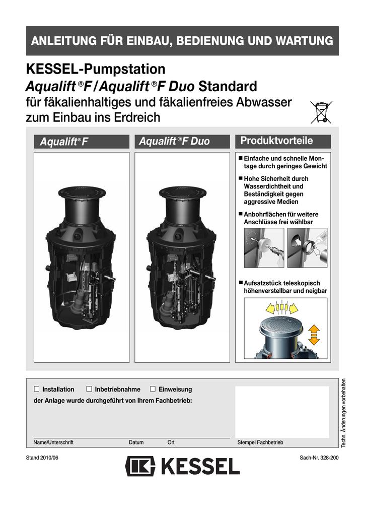 KESSEL-Pumpstation Aqualift€F/Aqualift€F Duo Standard | manualzz.com