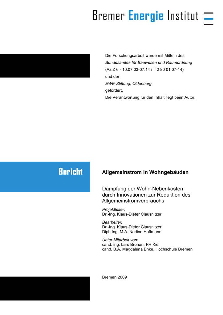 Allgemeinstrom in Wohngebäuden Dämpfung der | manualzz.com