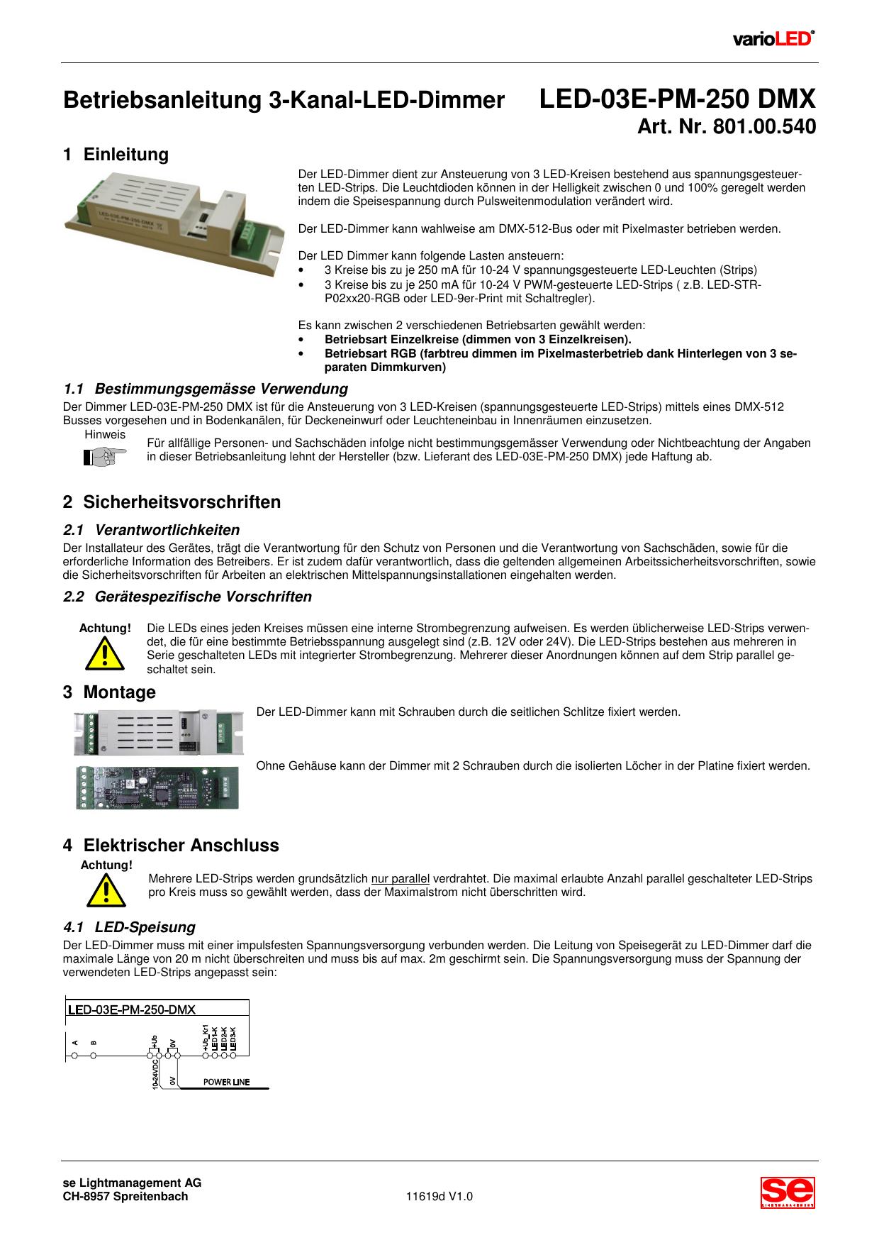 Betriebsanleitung 3-Kanal-LED-Dimmer LED-03E-PM-250 DMX | manualzz.com