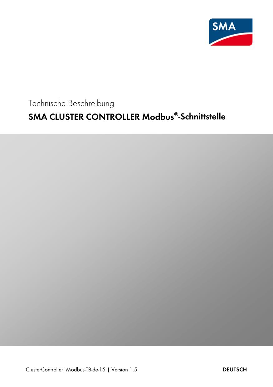 technische beschreibung sma cluster controller modbus. Black Bedroom Furniture Sets. Home Design Ideas