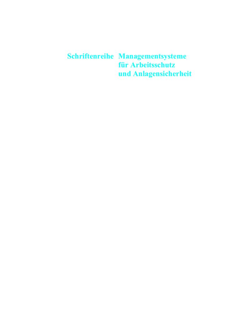 Schriftenreihe Managementsysteme für Arbeitsschutz und | manualzz.com