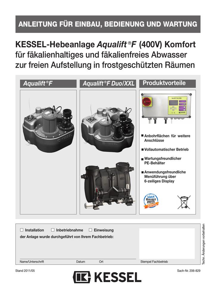 KESSEL-Hebeanlage Aqualift€F (400V) Komfort für | manualzz.com