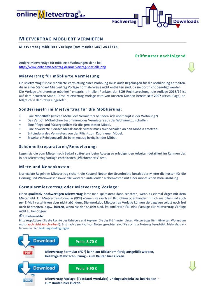 Mietvertrag Für Möblierte Wohnungen Mietvertrag Manualzzcom
