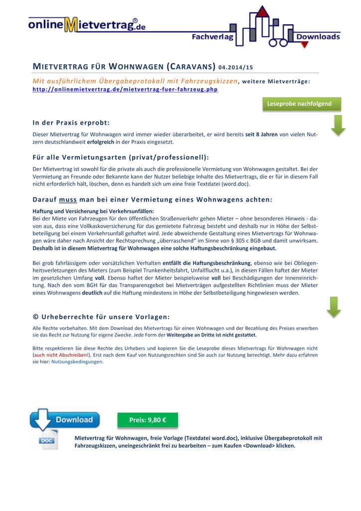 Mietvertrag für Wohnwagen mit Protokoll u