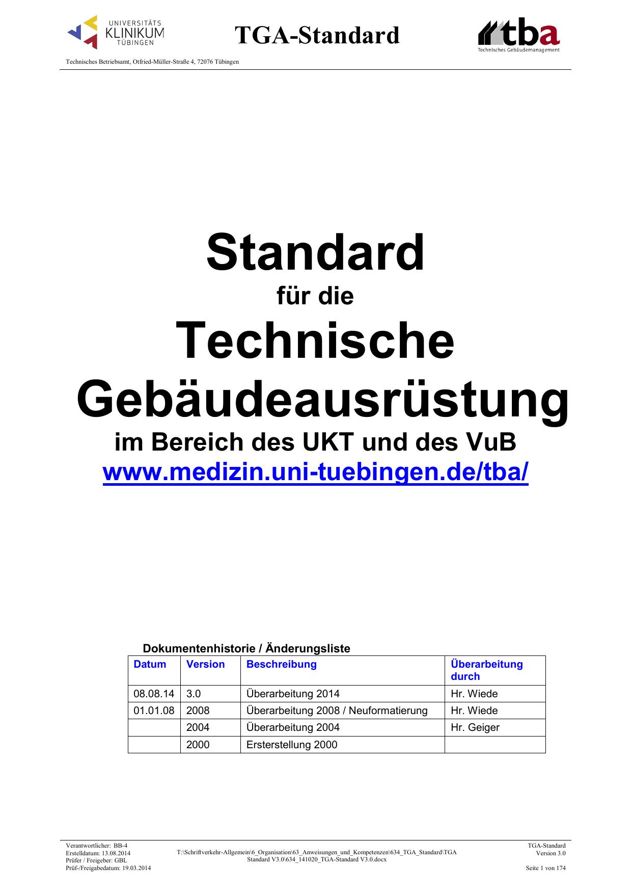 TGA-Standard - Technisches Betriebsamt | manualzz.com