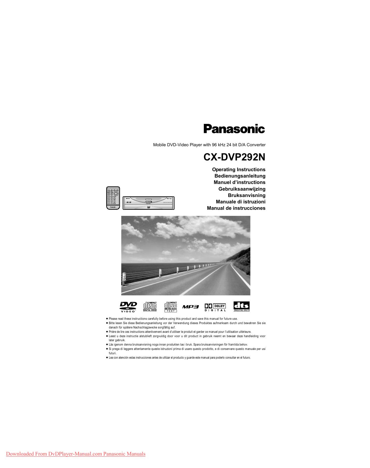 Panasonic CX-DVP292N User Guide Manual | manualzz com