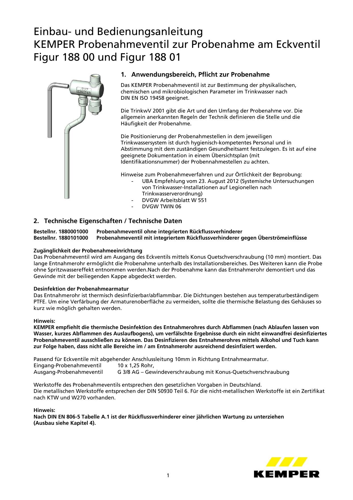 Einbau   Gebr. Kemper + Co. KG   Manualzz