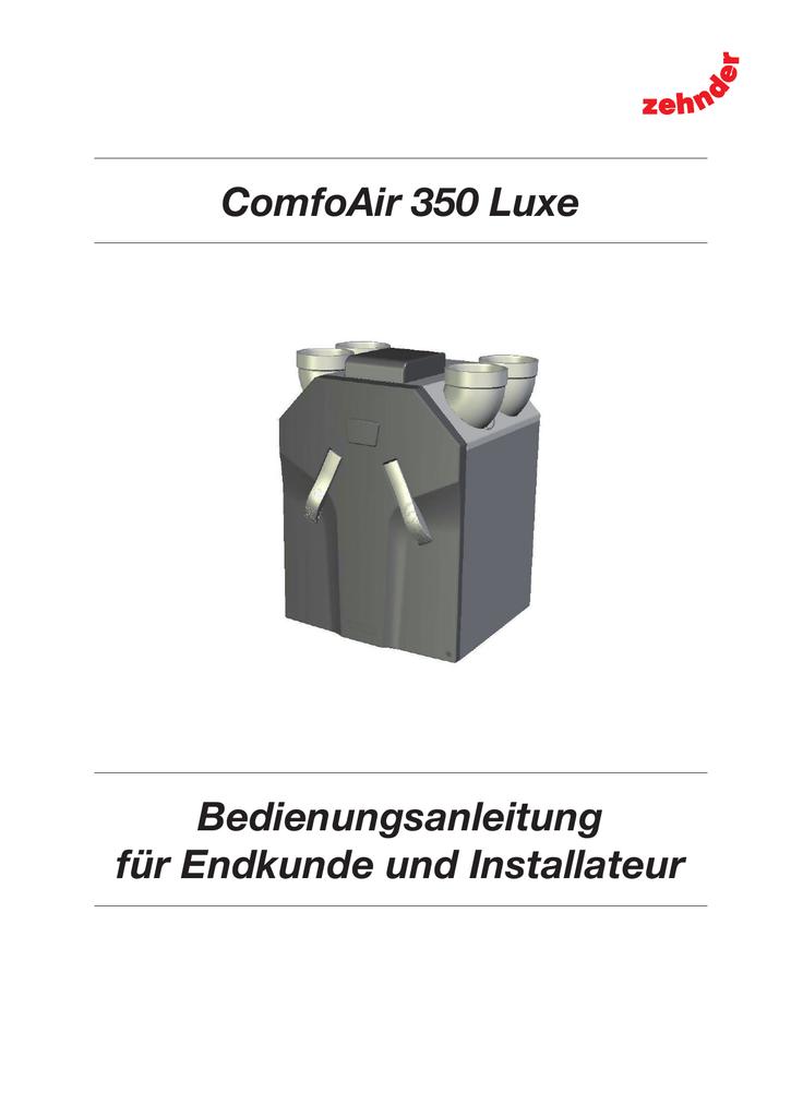 Bedienungsanleitung Zehnder ComfoAir 350 - mit | manualzz.com