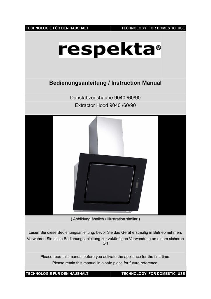 Respekta Dunstabzugshaube Anleitung 2021