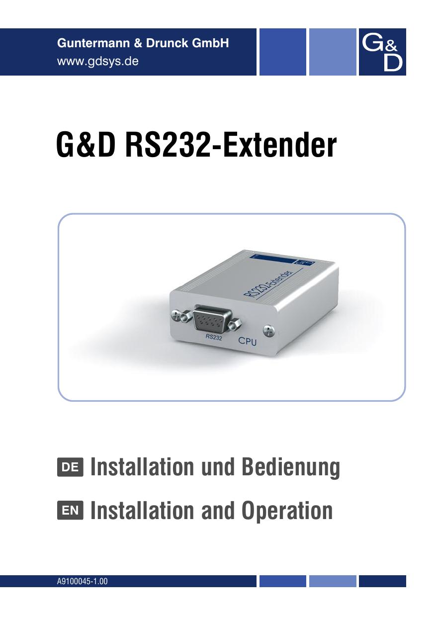 G&D RS232-Extender - Guntermann und Drunck   manualzz.com on