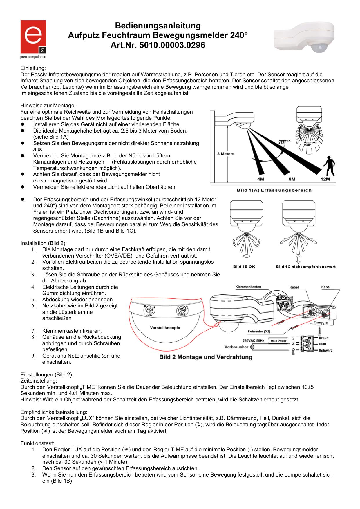Relativ Bedienungsanleitung Aufputz Feuchtraum Bewegungsmelder 240 WO84