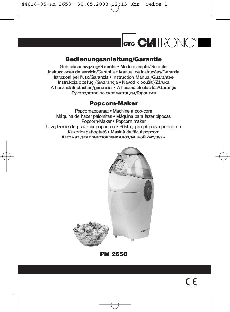 Clatronic PM 2658 Macchina per Popcorn
