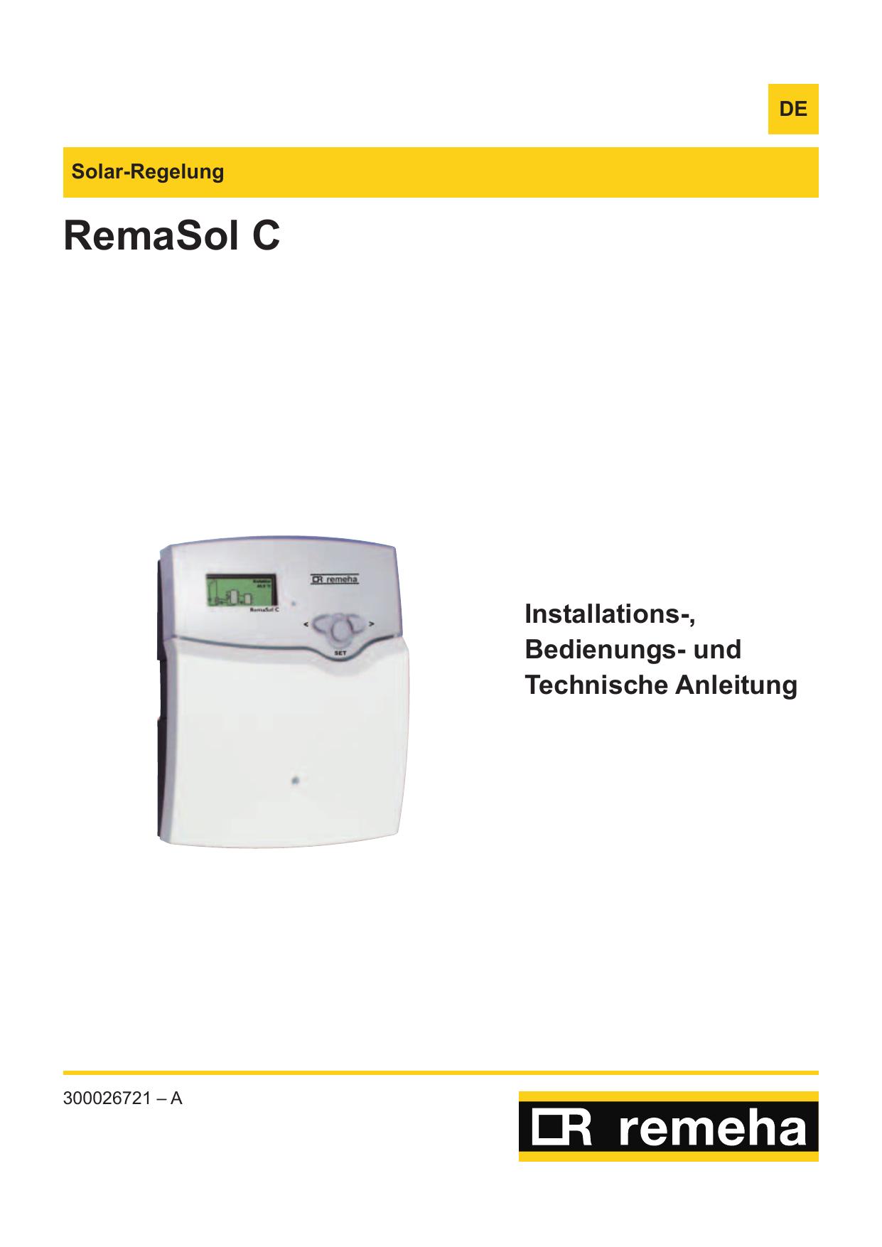 Bedienungsanleitung Remeha RemaSol C   manualzz.com