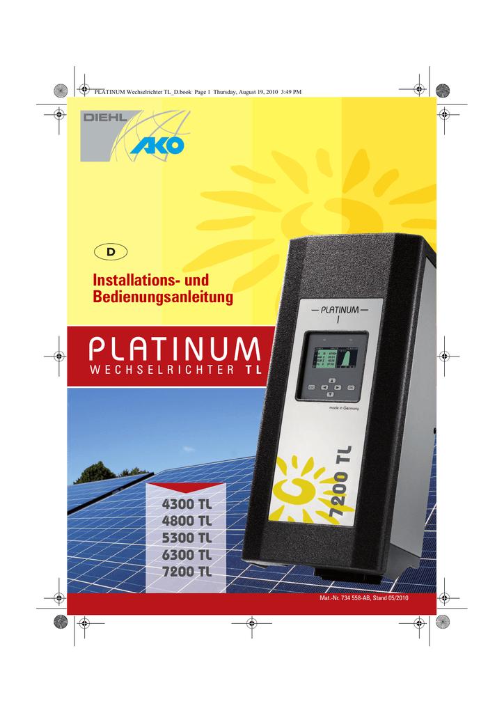 Wechselrichter Photovoltaik Diehl Ako 7200TL,platanium