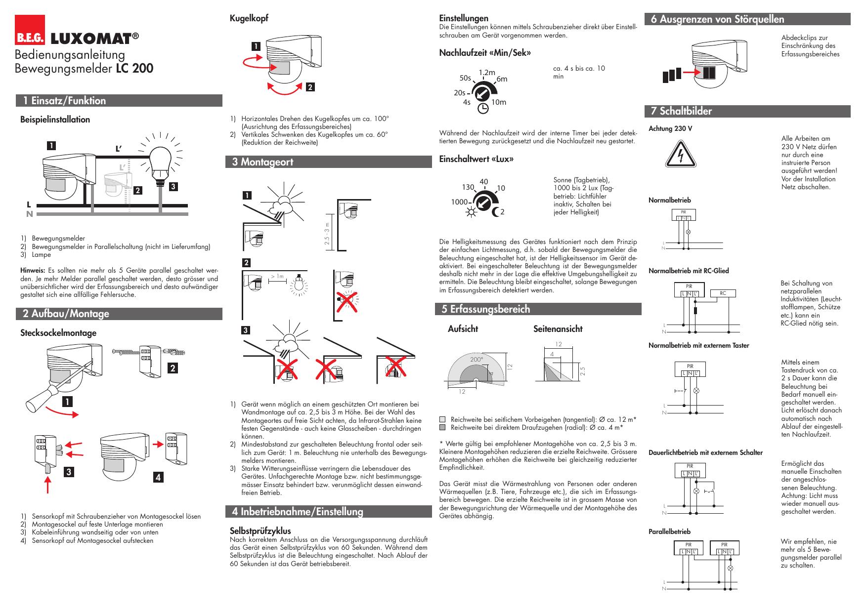 Bedienungsanleitung Bewegungsmelder Lc 200 Manualzz