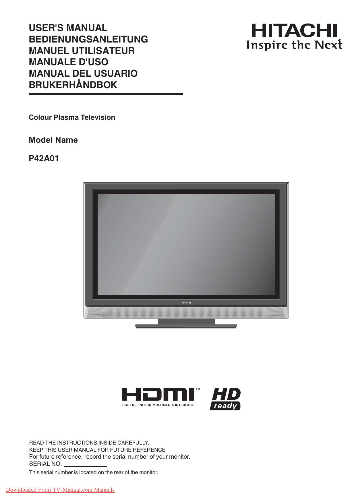 hitachi p42a01a tv user guide manual operating instructions pdf rh manualzz com