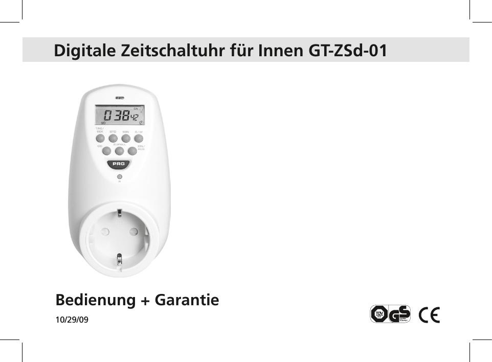 Digitale Zeitschaltuhr für Innen GT-ZSd-01 - GT | manualzz.com