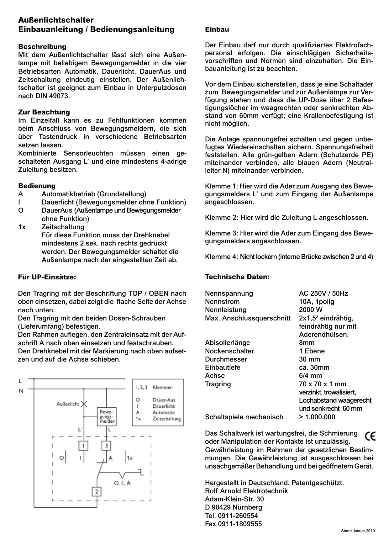 Außenlichtschalter Einbauanleitung / Bedienungsanleitung | manualzz.com
