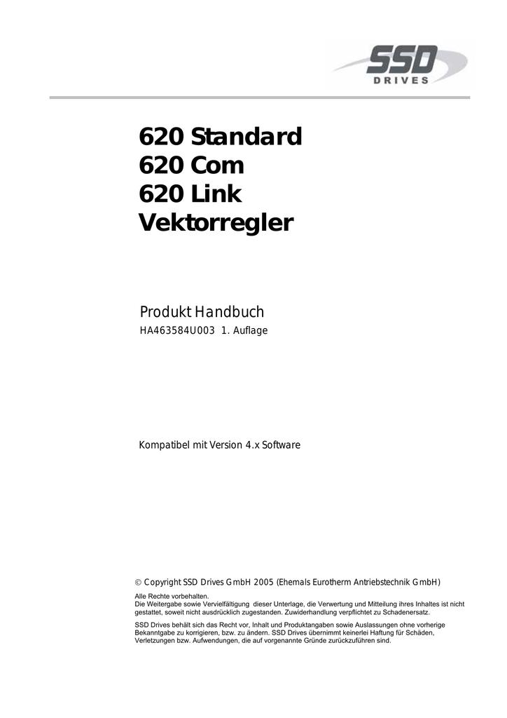 620 Standard 620 Com 620 Link Vektorregler | manualzz.com