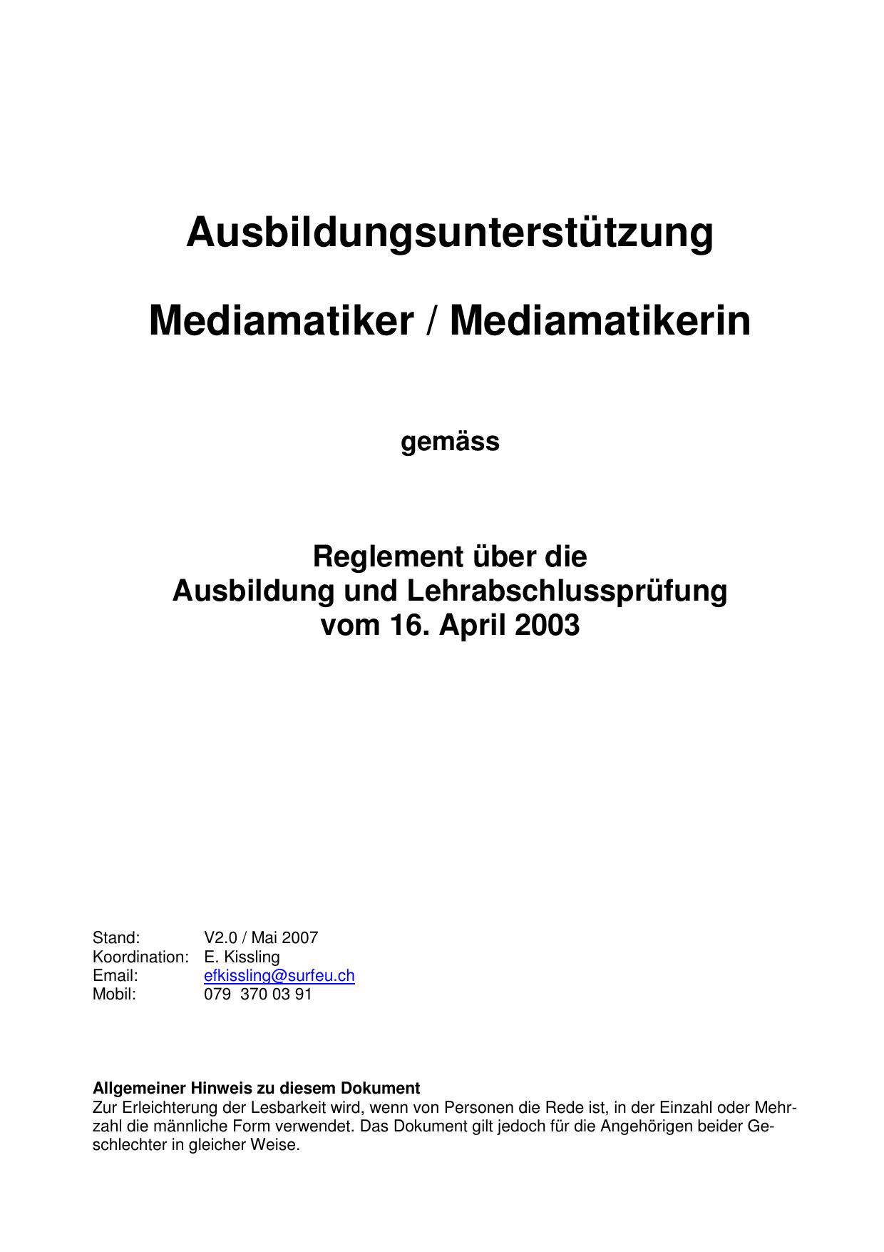 Ausbildungsunterstützung Mediamatiker Mediamatikerin M Ost