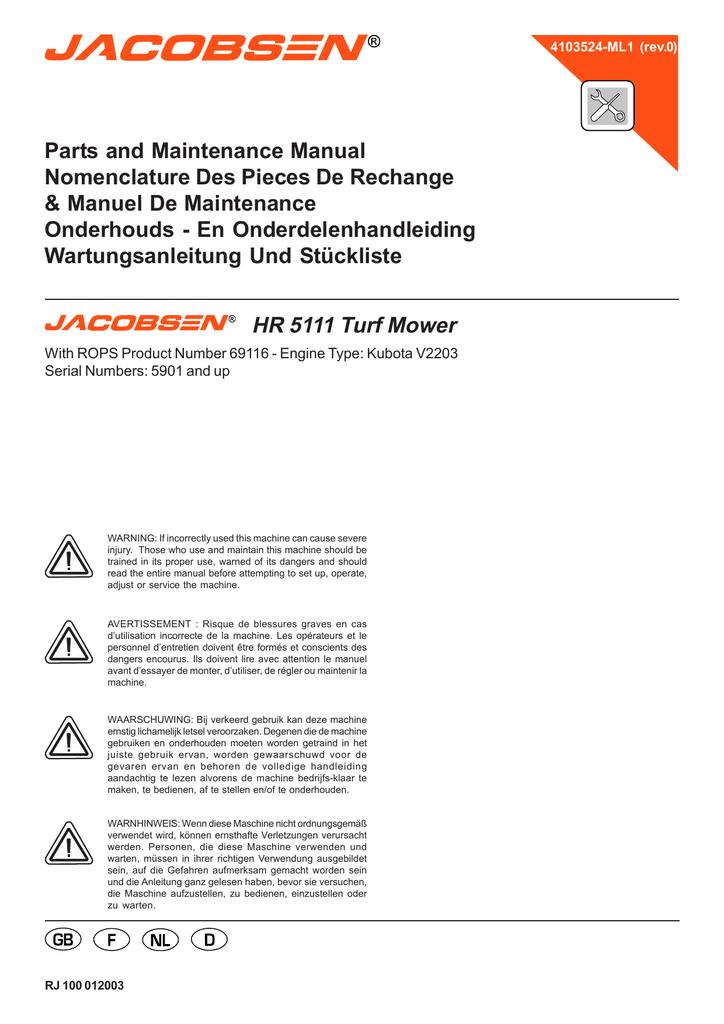 HR-5111 - Jacobsen | manualzz.com on