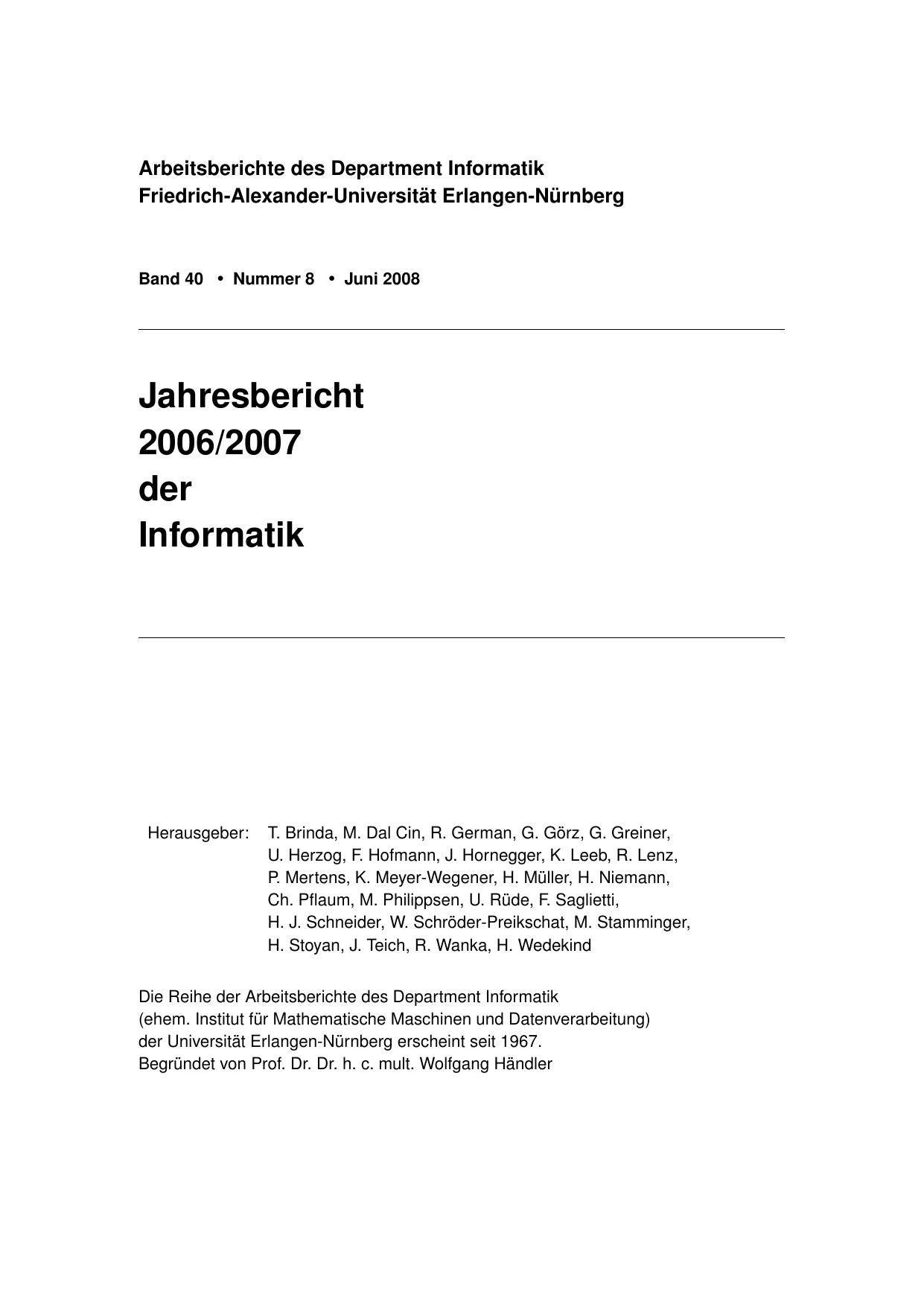 Jahresbericht 2006/2007 - Computer Science - Friedrich | manualzz.com