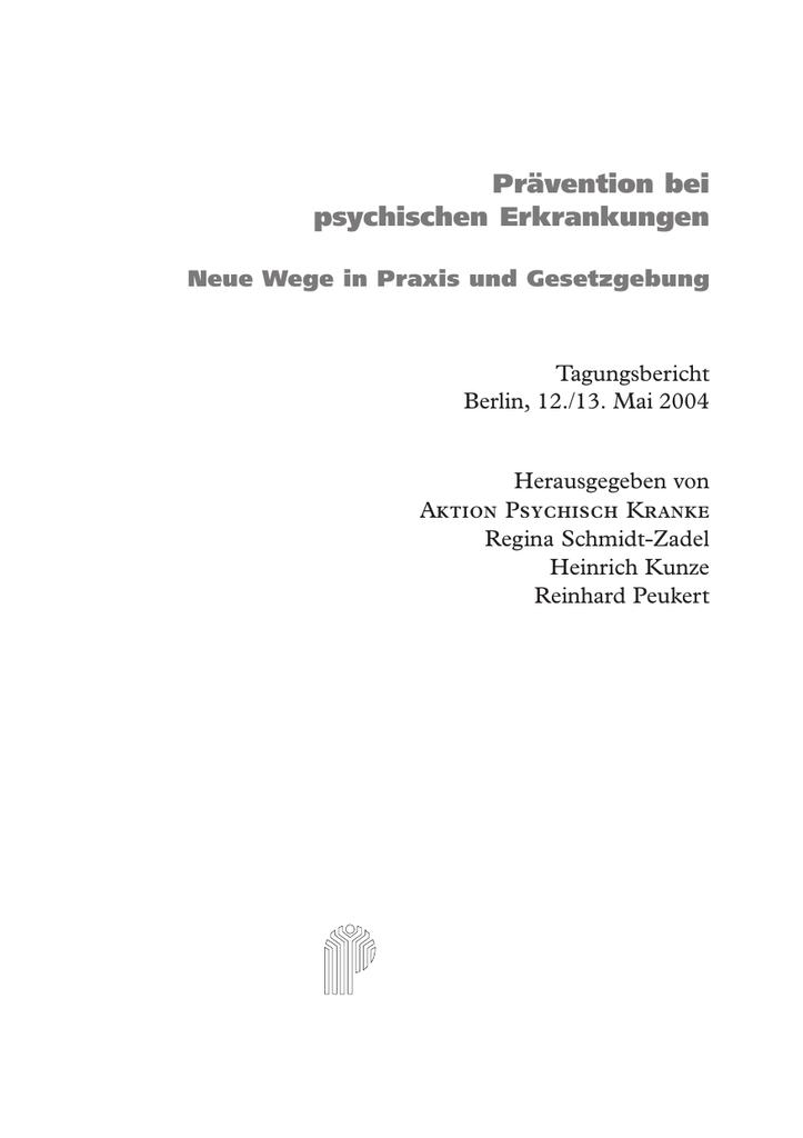 Prävention Bei Psychischen Erkrankungen Manualzzcom