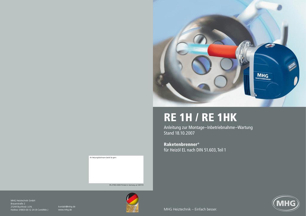 RE 1H / RE 1HK - MHG (Schweiz) | manualzz.com