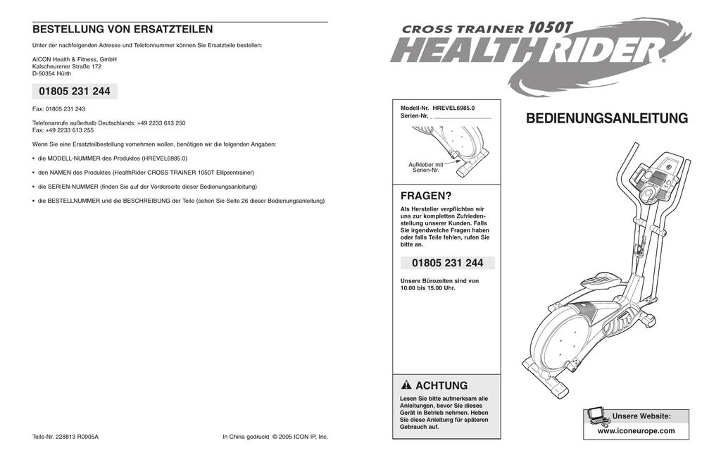 Healthrider Crosstrainer 1050t - Staqua   manualzz.com