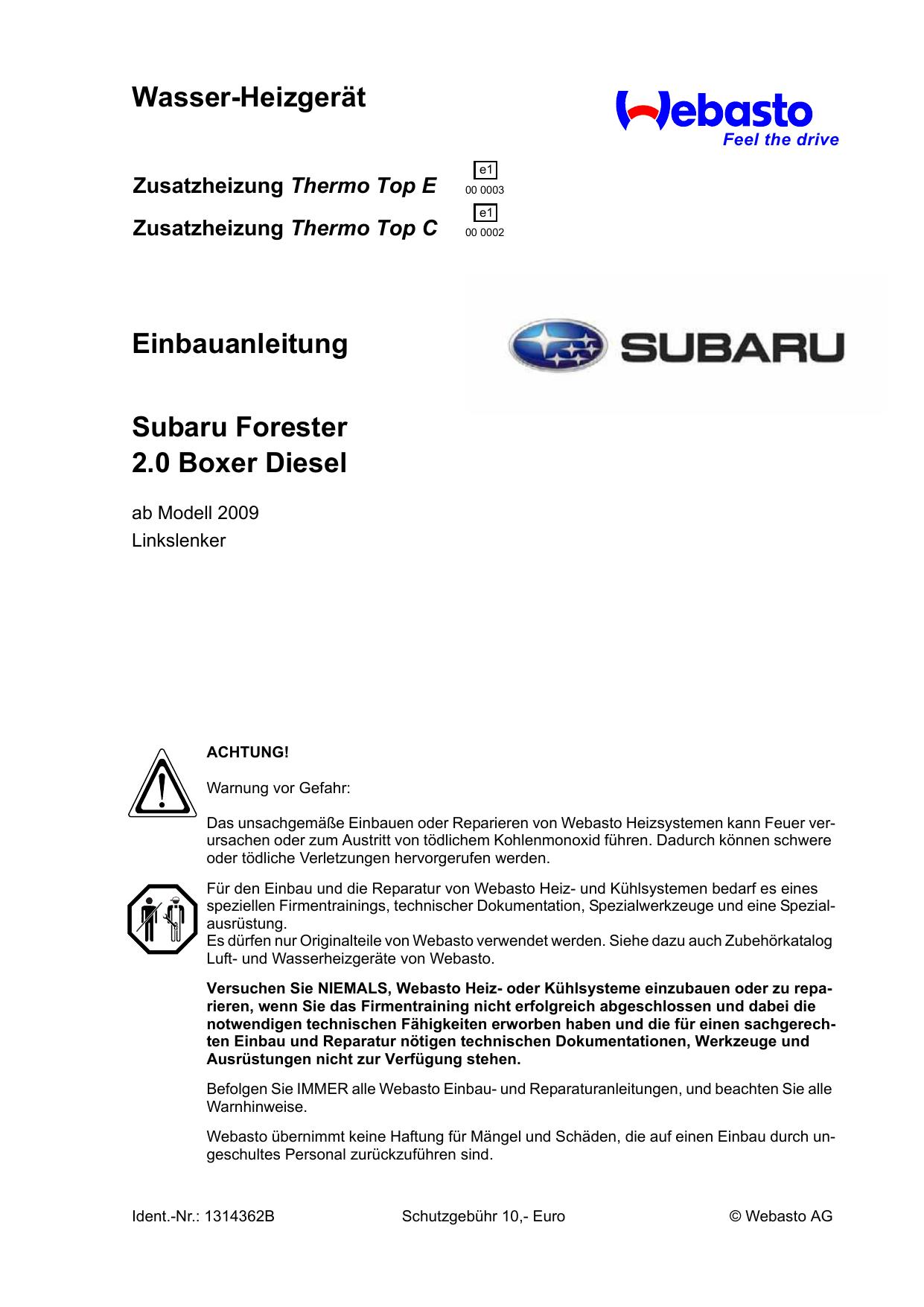 Wasser-Heizgerät Einbauanleitung Subaru Forester 2.0 Boxer Diesel ...