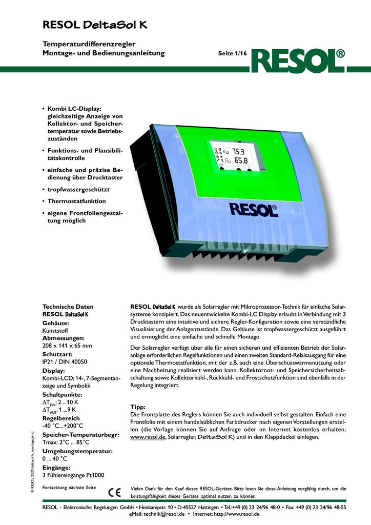 inkl. 2 PT1000 F/ühlern - 1 x FKP6-1 x FRP6 Komplettpaket Solarsteuerung Resol DeltaSol AX