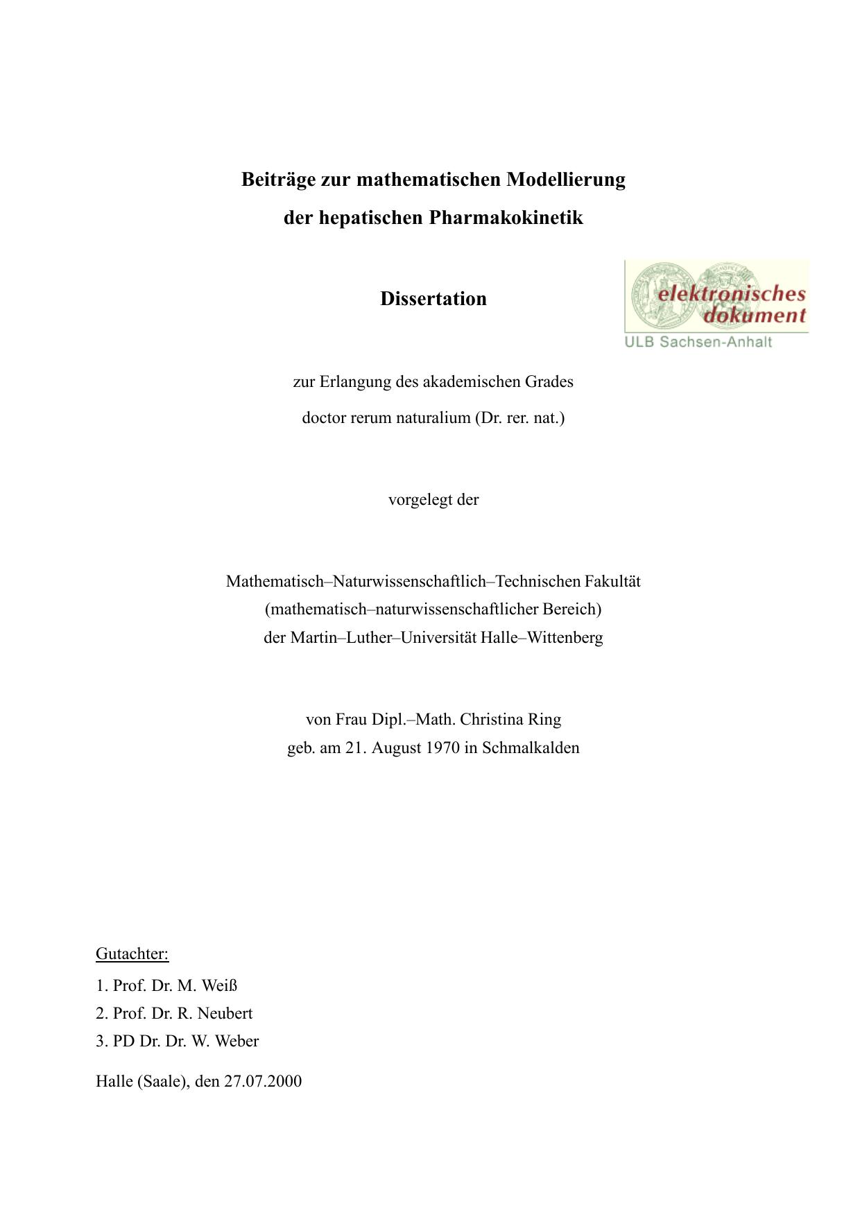 Beiträge zur mathematischen Modellierung der hepatischen   manualzz.com