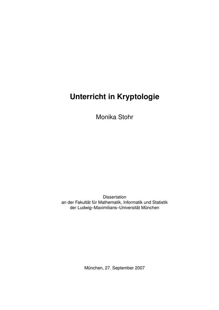 Unterricht in Kryptologie - Elektronische Dissertationen der LMU ...