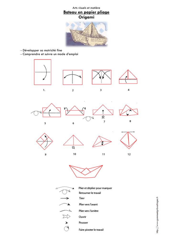 Bateau En Papier Pliage Origami Manualzz