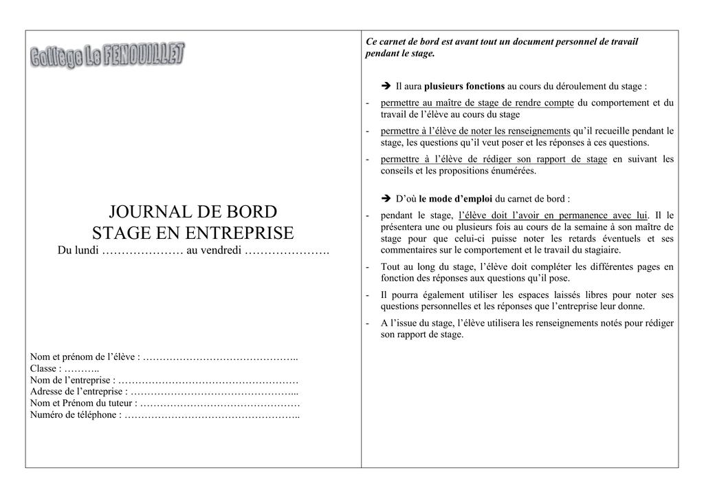 JOURNAL DE BORD STAGE EN ENTREPRISE | Manualzz