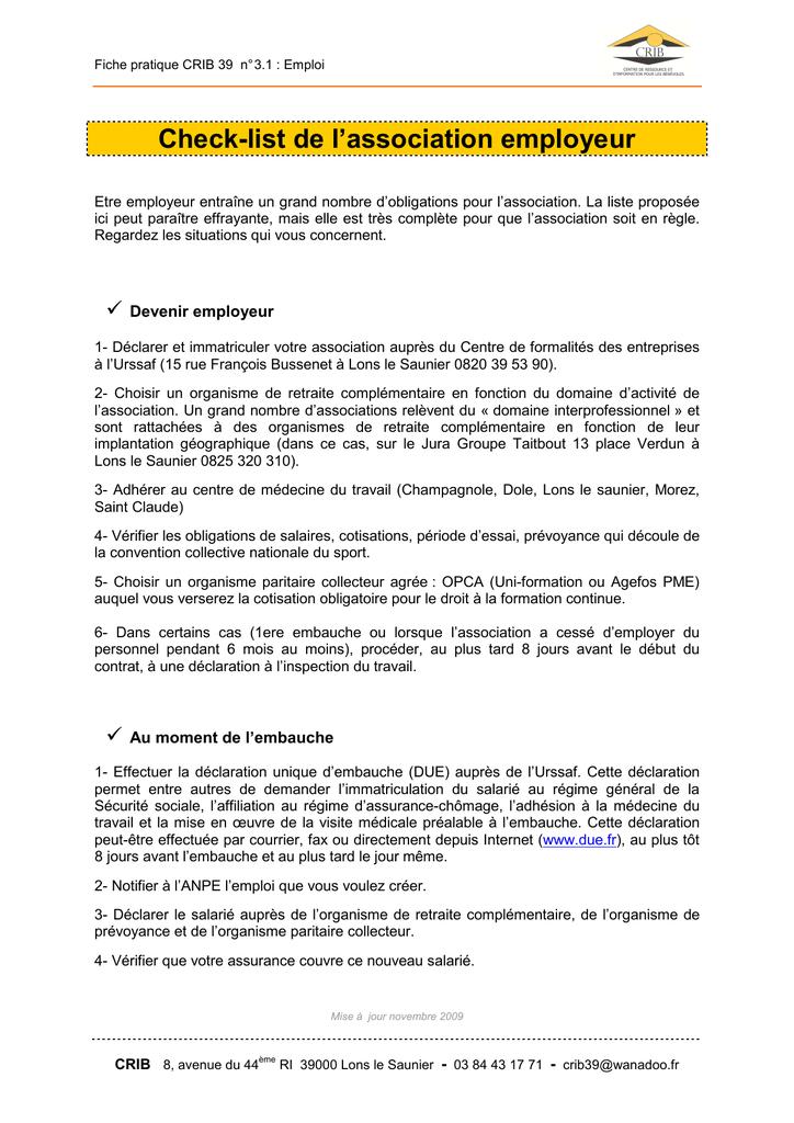 Check List De L Association Employeur Manualzz