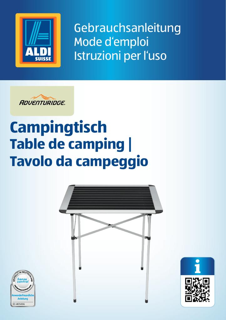 Campingtisch Aldi.Campingtisch Aldi Suisse Ag Manualzz Com